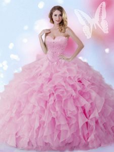 Rose Pink Organza Lace Up 15 Quinceanera Dress Sleeveless Floor Length Beading and Ruffles