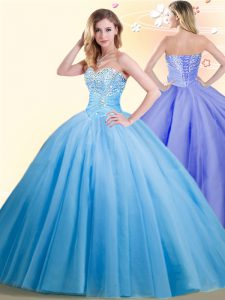 Comfortable Floor Length Baby Blue Sweet 16 Dress Sweetheart Sleeveless Lace Up