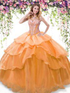 Sweetheart Sleeveless Quinceanera Dress Floor Length Beading and Ruffled Layers Orange Organza