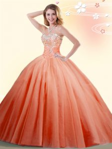 Elegant Orange Red Ball Gowns Beading Quinceanera Gowns Lace Up Tulle Sleeveless Floor Length