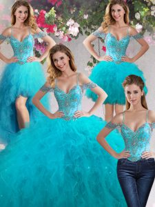 Four Piece Off the Shoulder Sleeveless Tulle Floor Length Lace Up 15 Quinceanera Dress in Teal with Beading and Ruffles