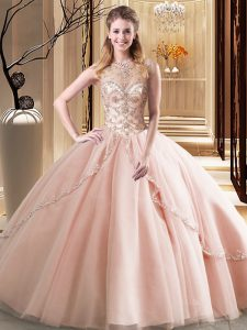 High Quality Scoop Ball Gowns Sleeveless Peach Quince Ball Gowns Brush Train Lace Up