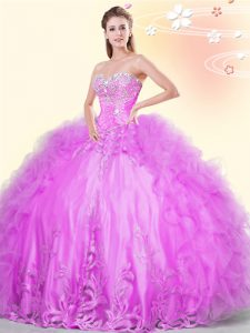 Luxury Sleeveless Tulle Asymmetrical Lace Up 15th Birthday Dress in Lilac with Beading and Appliques and Ruffles