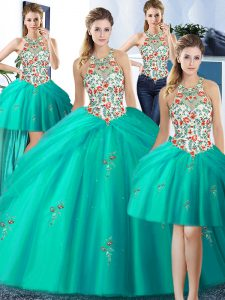 Four Piece Halter Top Turquoise Sleeveless Embroidery and Pick Ups Floor Length Quinceanera Dresses
