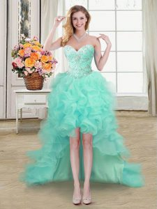 Apple Green A-line Organza Sweetheart Sleeveless Beading and Ruffles High Low Lace Up Homecoming Dress