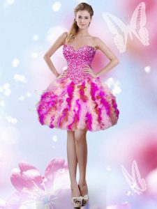 Noble Multi-color Tulle Lace Up Sweetheart Sleeveless Mini Length Homecoming Dress Beading and Ruffles