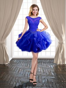 Best Scoop Royal Blue Ball Gowns Beading and Ruffles Party Dresses Lace Up Tulle Cap Sleeves Mini Length