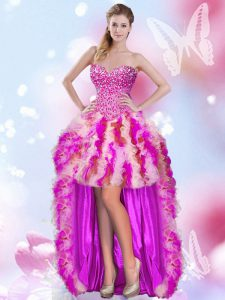 Multi-color Tulle Lace Up Cocktail Dress Sleeveless High Low Beading and Ruffles