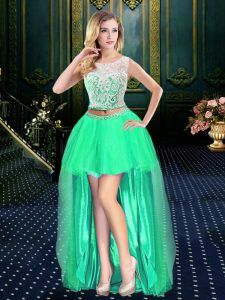 Elegant Scoop Turquoise Clasp Handle Cocktail Dress Lace Sleeveless High Low