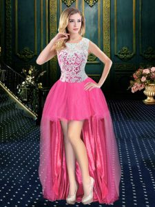 Organza Scoop Sleeveless Brush Train Zipper Beading Cocktail Dress in Hot Pink