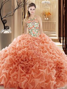 Noble Backless Vestidos de Quinceanera Peach for Prom and Military Ball and Sweet 16 and Quinceanera with Embroidery and