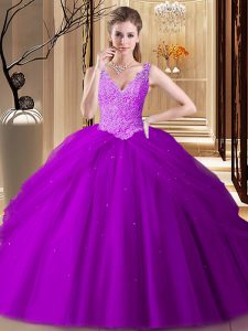 Sleeveless Backless Floor Length Appliques and Pick Ups Sweet 16 Quinceanera Dress