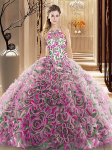Captivating Multi-color Sleeveless Fabric With Rolling Flowers Brush Train Criss Cross 15th Birthday Dress for Military