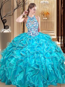 Scoop Teal Organza Backless 15 Quinceanera Dress Sleeveless Floor Length Embroidery and Ruffles
