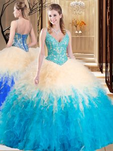 Floor Length Multi-color Quinceanera Dresses Tulle Sleeveless Lace and Ruffles