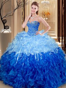 Ideal Multi-color Ball Gowns Sweetheart Sleeveless Organza Floor Length Lace Up Beading and Ruffles Ball Gown Prom Dress