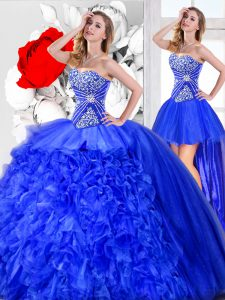New Arrival Three Piece Blue Sleeveless Organza Lace Up Sweet 16 Quinceanera Dress for Military Ball and Sweet 16 and Qu