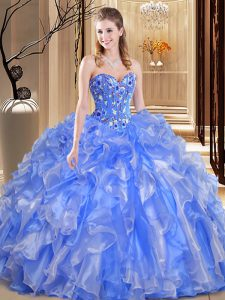 Cute Blue Ball Gowns Sweetheart Sleeveless Organza Floor Length Lace Up Beading and Embroidery and Ruffles Ball Gown Pro