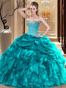 On Sale Teal Organza Lace Up Sweet 16 Quinceanera Dress Sleeveless Floor Length Beading and Pick Ups