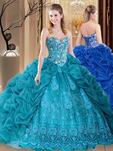 Custom Fit Organza Sweetheart Sleeveless Lace Up Embroidery and Pick Ups Quinceanera Gowns in Teal