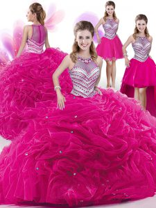Stylish Four Piece Hot Pink High-neck Neckline Beading and Pick Ups Quince Ball Gowns Sleeveless Zipper