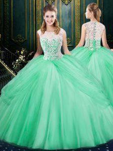 Scoop Apple Green Zipper 15 Quinceanera Dress Lace and Pick Ups Sleeveless Floor Length