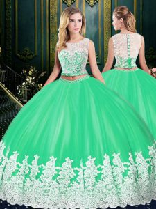 Apple Green Two Pieces Tulle Scoop Sleeveless Lace and Appliques Floor Length Zipper Quinceanera Gown