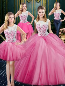 Graceful Four Piece Scoop Tulle Sleeveless Floor Length Sweet 16 Dresses and Lace and Appliques and Pick Ups
