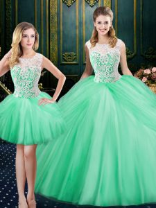 Decent Three Piece Scoop Sleeveless Quinceanera Dress Floor Length Lace and Pick Ups Apple Green Tulle