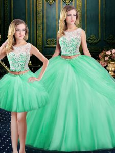 Romantic Three Piece Scoop Apple Green Lace Up Sweet 16 Quinceanera Dress Lace and Pick Ups Sleeveless Floor Length