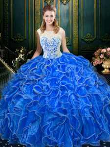 Scoop Sleeveless Sweet 16 Quinceanera Dress Floor Length Lace and Ruffles Royal Blue Organza