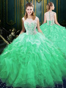 Custom Design Brush Train Ball Gowns Ball Gown Prom Dress Green Scoop Organza and Tulle Sleeveless Zipper