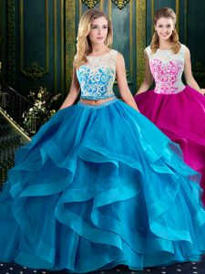 Baby Blue Two Pieces Tulle Scoop Sleeveless Lace and Ruffles With Train Zipper Ball Gown Prom Dress Brush Train