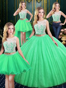 Four Piece Scoop Ball Gowns Lace and Sequins Quinceanera Gowns Lace Up Tulle and Sequined Sleeveless Floor Length