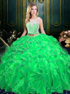 Extravagant Scoop Sleeveless Organza Zipper Quinceanera Gown for Military Ball and Sweet 16 and Quinceanera