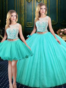 Perfect Three Piece Sequins Scoop Sleeveless Lace Up Quinceanera Dresses Blue Tulle and Sequined