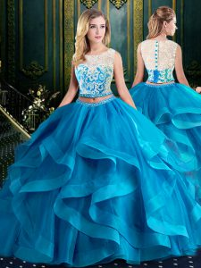 Dazzling Scoop Tulle Sleeveless With Train Quince Ball Gowns Brush Train and Lace and Ruffles