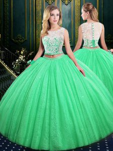 Scoop Neckline Lace and Sequins Quinceanera Gowns Sleeveless Lace Up