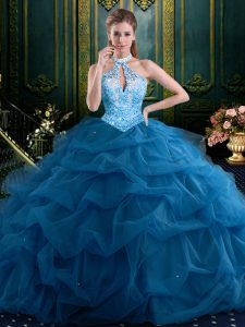 Halter Top Navy Blue Tulle Lace Up Quinceanera Gown Sleeveless Floor Length Beading and Pick Ups