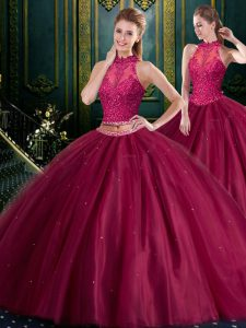 Tulle Sleeveless Floor Length Quinceanera Gown and Beading and Lace