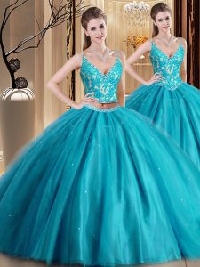 Teal Two Pieces Tulle Spaghetti Straps Sleeveless Beading and Lace and Appliques Floor Length Lace Up Ball Gown Prom Dre