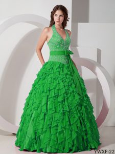 Green Halter Embroidery Quinceanera Dresses with Pieces Ruffles