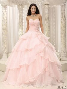 Ruched Bodice and Flowers Decorated Waist for Quinceanera Gown Dresses