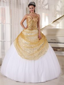 Champagne and White Spaghetti Straps Tulle and Sequin Appliques Quince Dress