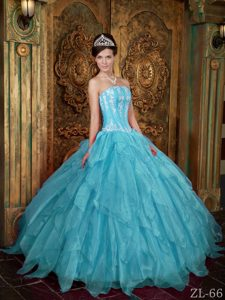 Gorgeous Strapless Appliques Aqua Blue Sweet Sixteen Dresses in Organza