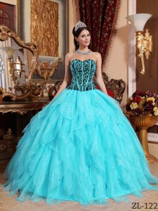 Embroidery with Beading Dresses for A Quinceanera in Aqua Blue and Black