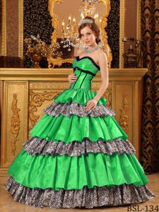 Zebra Printing for Popular Sweetheart Ruffles Green Quince Dresses