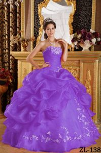 Purple Ball Gown Strapless Organza Quince Dresses Decorated Embroidery