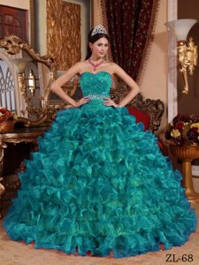 Teal Sweetheart Organza Beading Sash for Dress for A Quince with Full Tucks