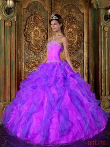 Princess Sweetheart Ruffles Organza Purple Quinceanera Dresses Gowns
